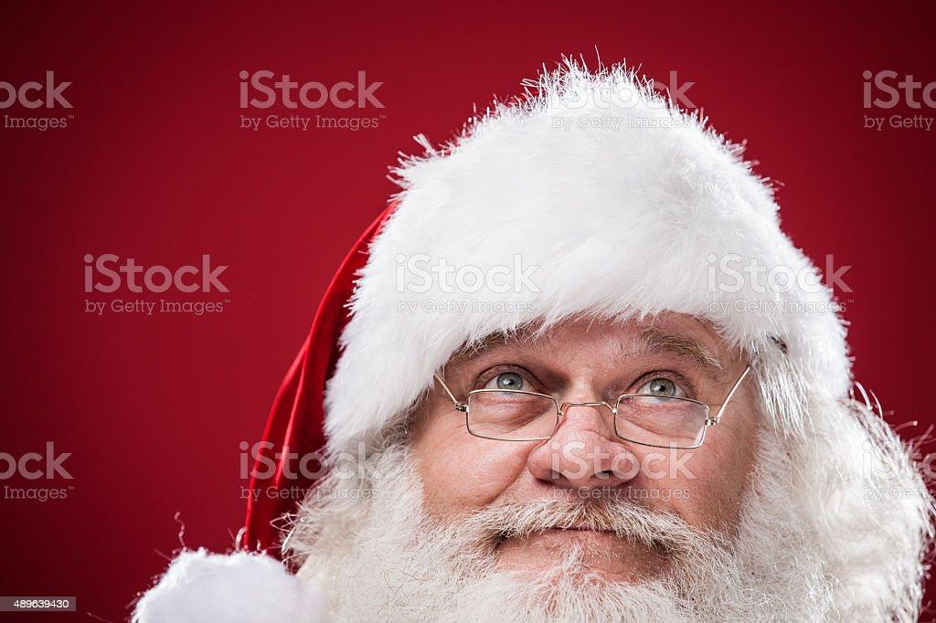 Real Santa Claus Looking Up stock photo