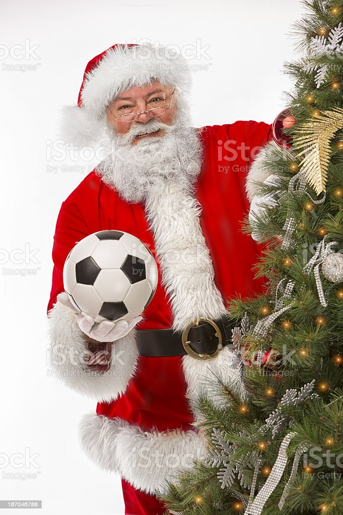 Real Santa Claus with soccer ball royalty-free stock photo