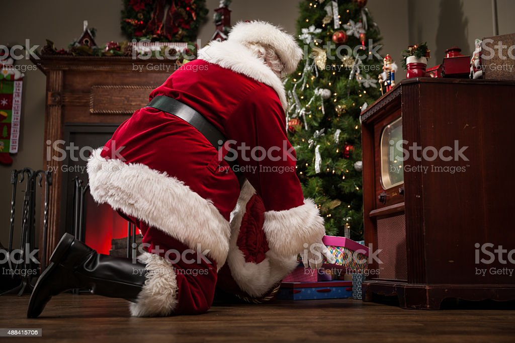 Real Santa Delivering Gifts stock photo
