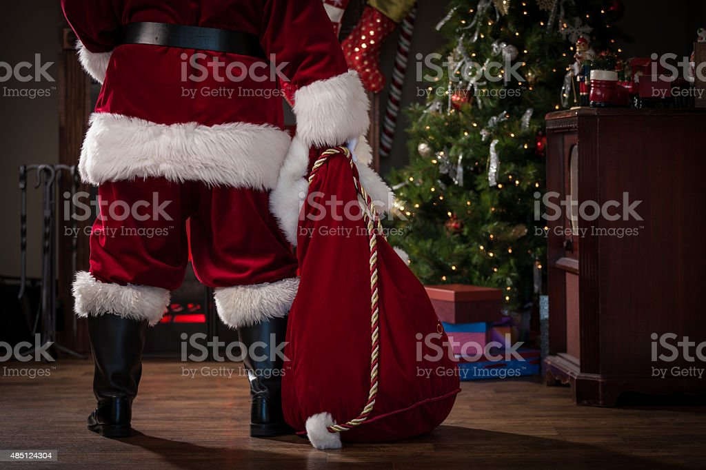 Real Santa with Bag of Gifts stock photo