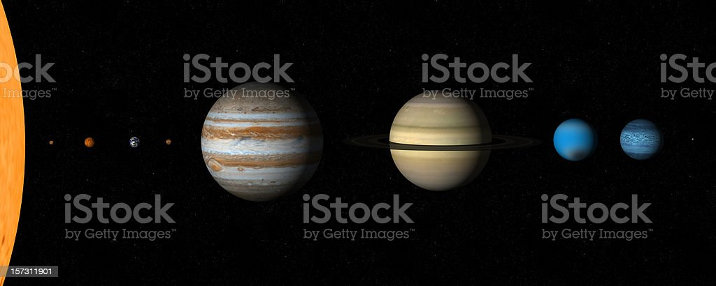 Real sizes in our solar system stock photo