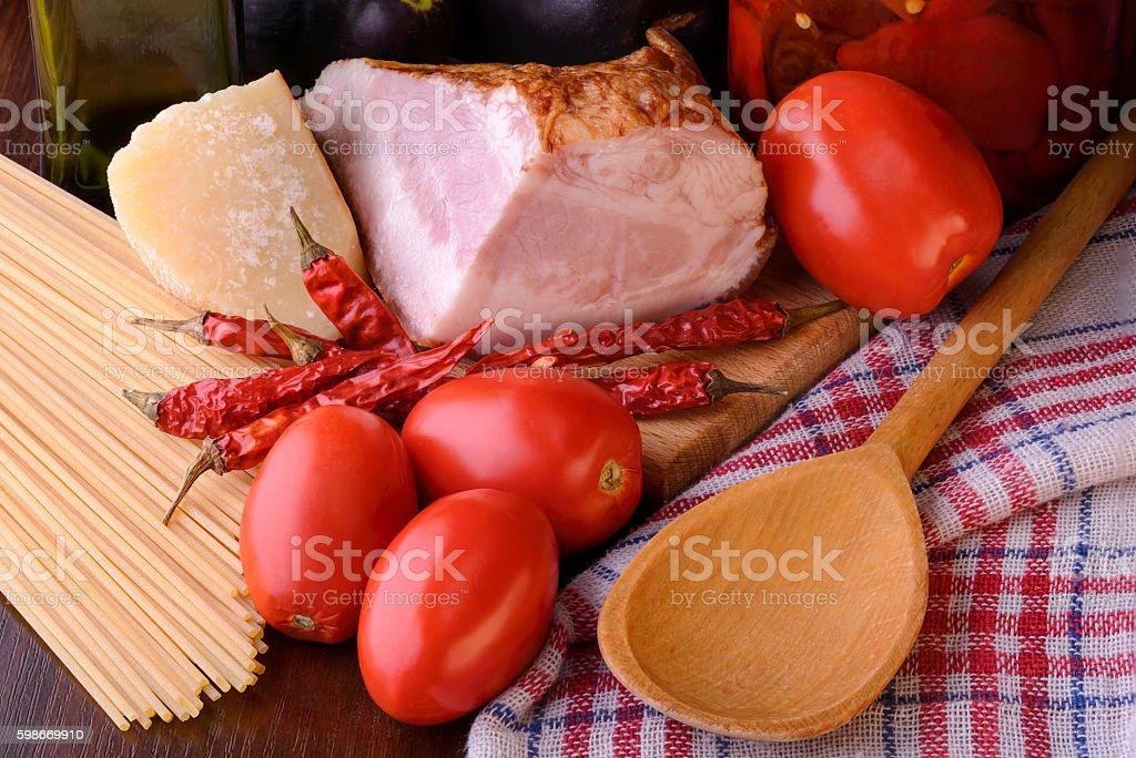Real Spaghetti all'Amatriciana Ingredients stock photo