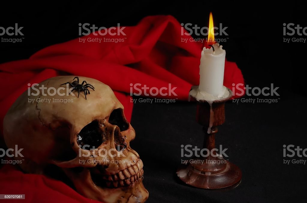 Real Spider Crawling on Skull with Candle stock photo
