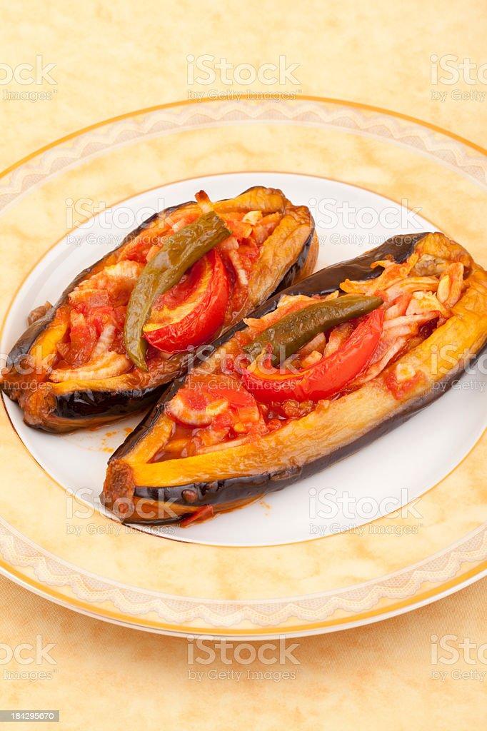 real stufted eggplant stock photo