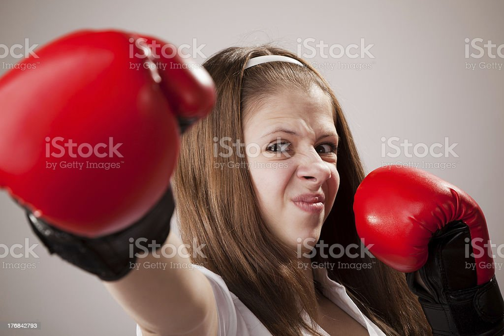 Real Teenage Girl, Boxing - Women royalty-free stock photo
