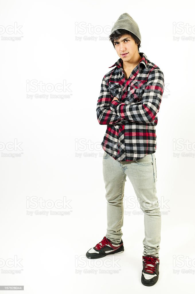 Real teenager standing and looking at camera royalty-free stock photo