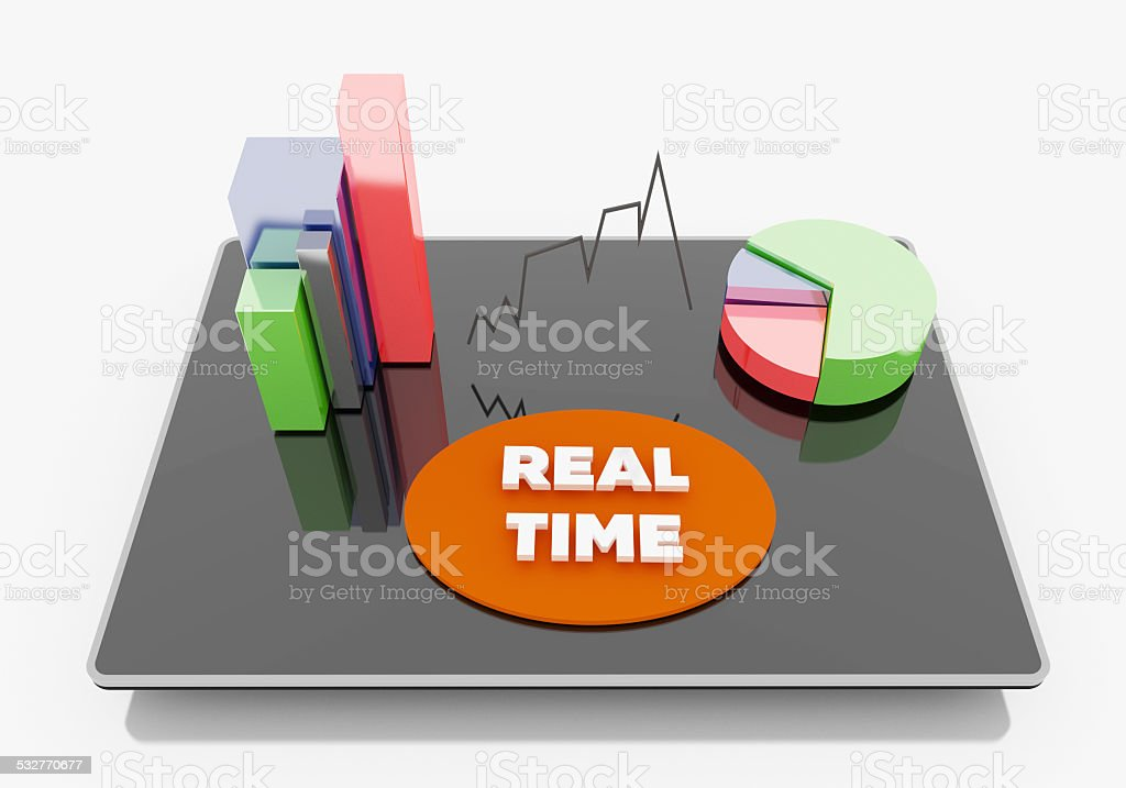 real time chart on Tablet stock photo
