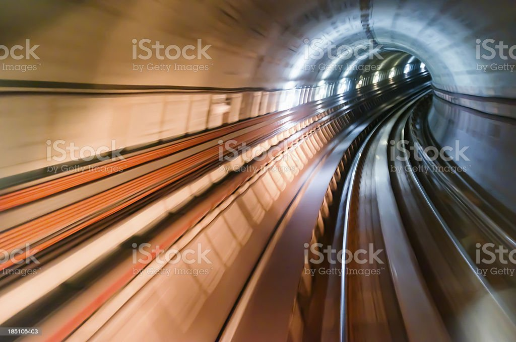 Real tunnel with high speed stock photo