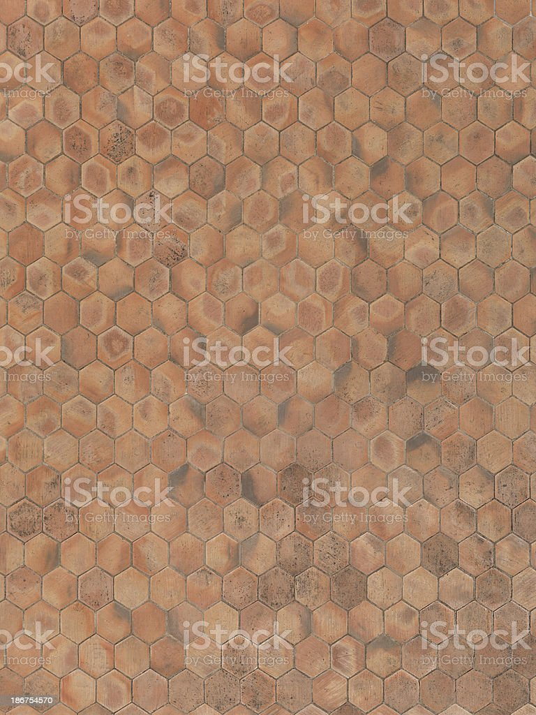 real unstiched terracotta hexagon stone floor royalty-free stock photo