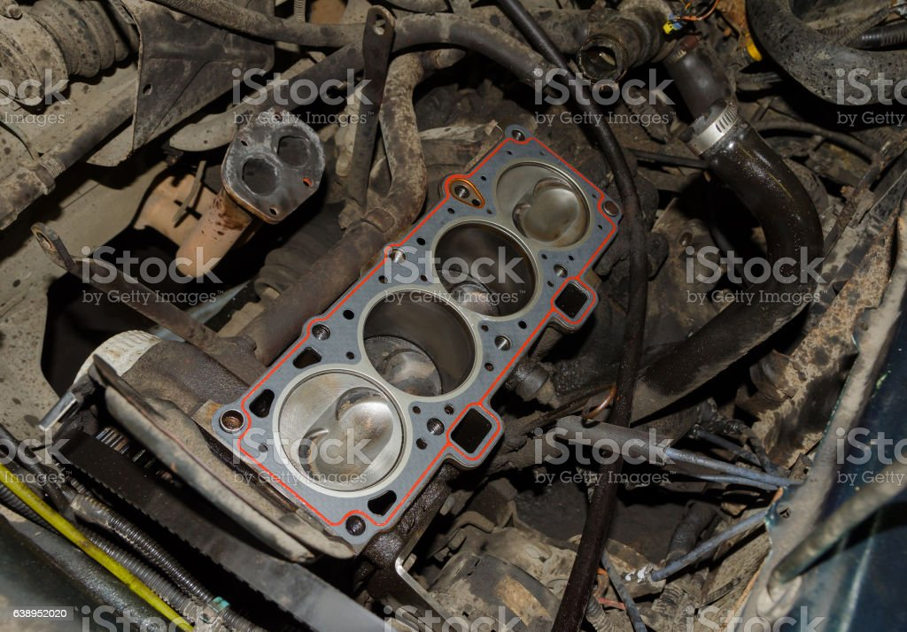 real used opened car engine stock photo
