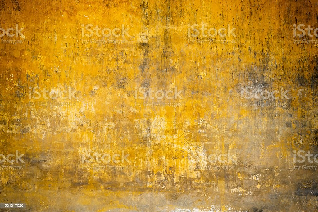 Real Wall Background, Grungy Yellow Texture stock photo