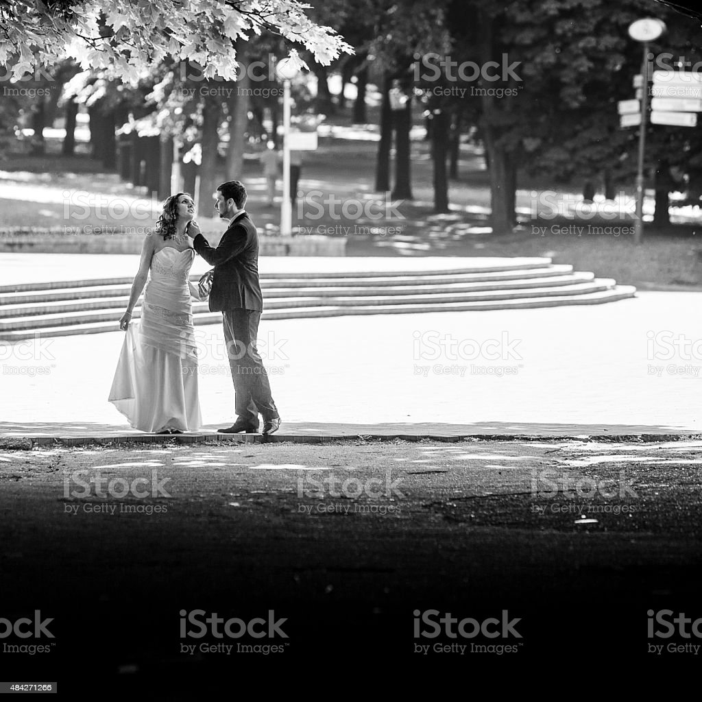 Real wedding: bride and groom at the funny summer day stock photo