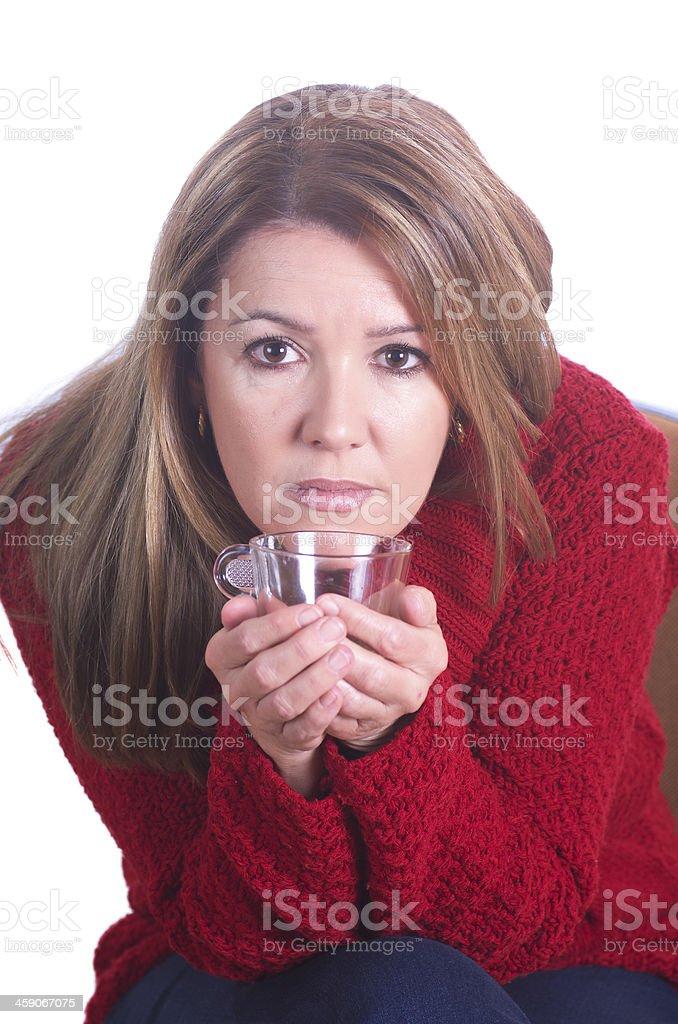 Real woman drinking coffee stock photo