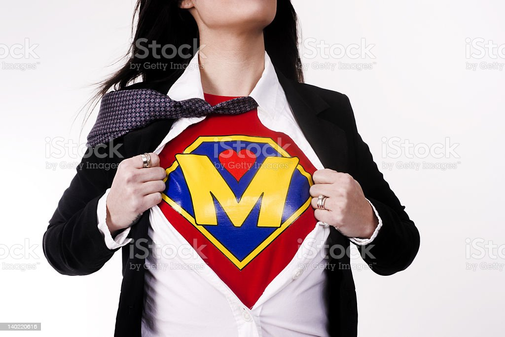 Real Woman Shows her Super Mom M for Mother Model stock photo