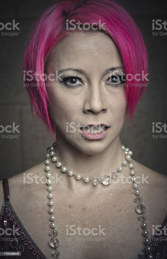 Real Woman With Pink Hair royalty-free stock photo