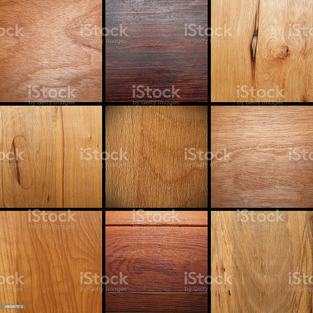 real wood veneer collage stock photo
