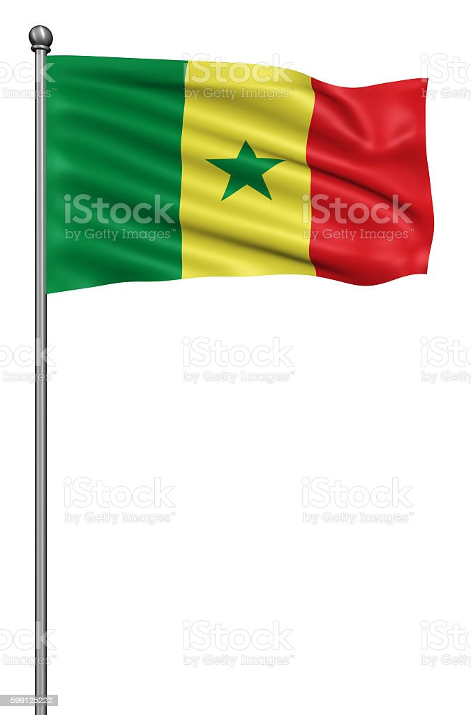 Realistic 3d flag of Senegal fluttering in the wind. stock photo