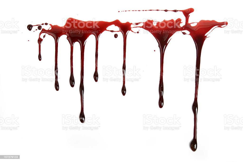 Realistic Blood Dripping on White Background stock photo
