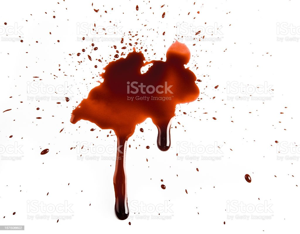 Realistic Blood Splat on White Background stock photo