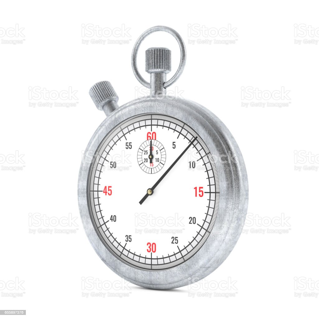 Realistic Classic Stopwatch Isolated on White. 3d rendering stock photo