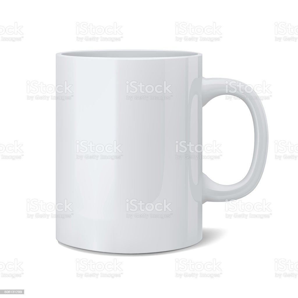 Realistic classic white cup stock photo