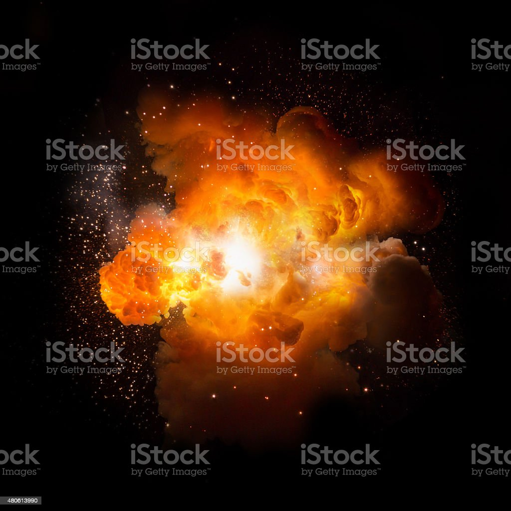 Realistic fiery explosion busting over a black background vector art illustration