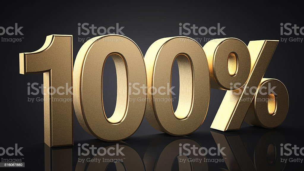 100%. Realistic gold percent isolated stock photo
