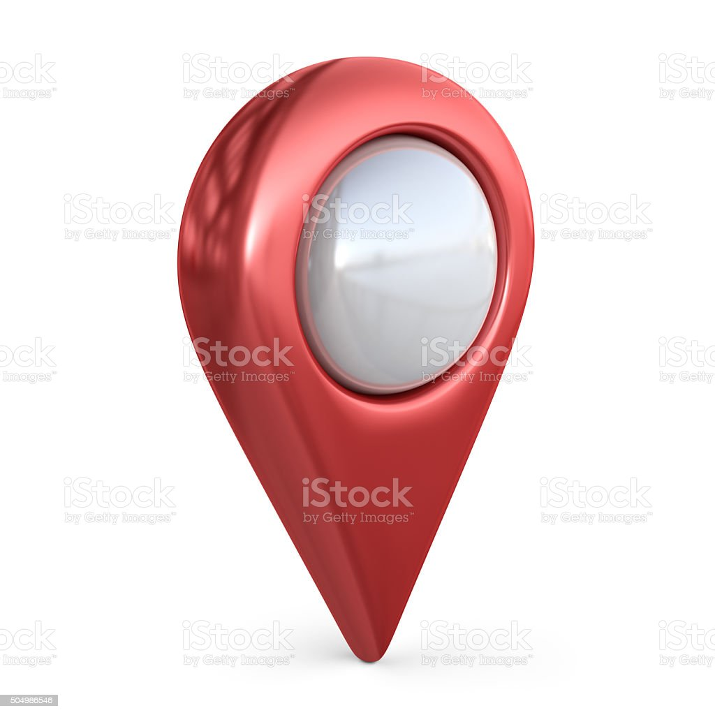 Realistic map pointer. GPS location symbol; 3D icon isolated stock photo