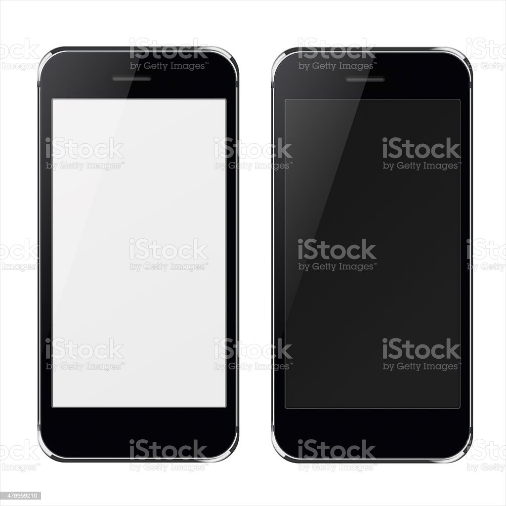 Realistic mobile phones with black and blank  screen. stock photo
