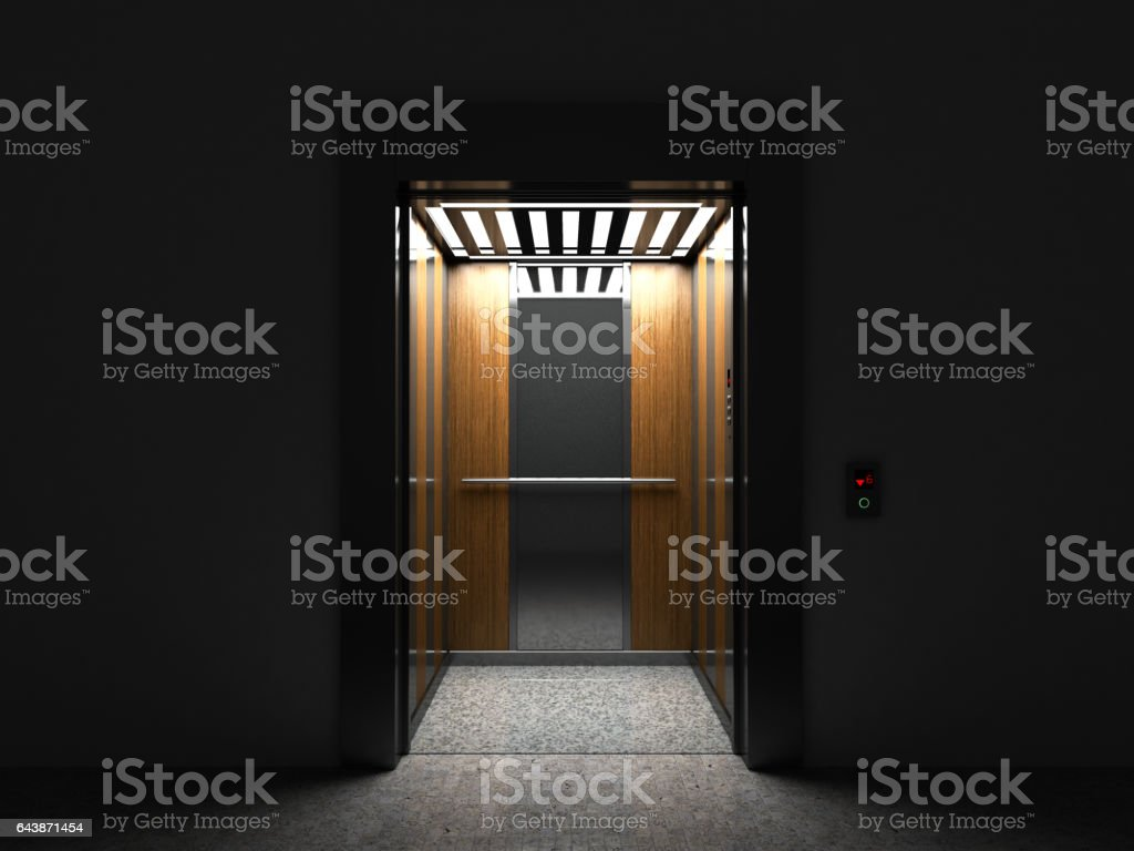 Realistic open Empty Elevator with Half Open Door 3d render stock photo