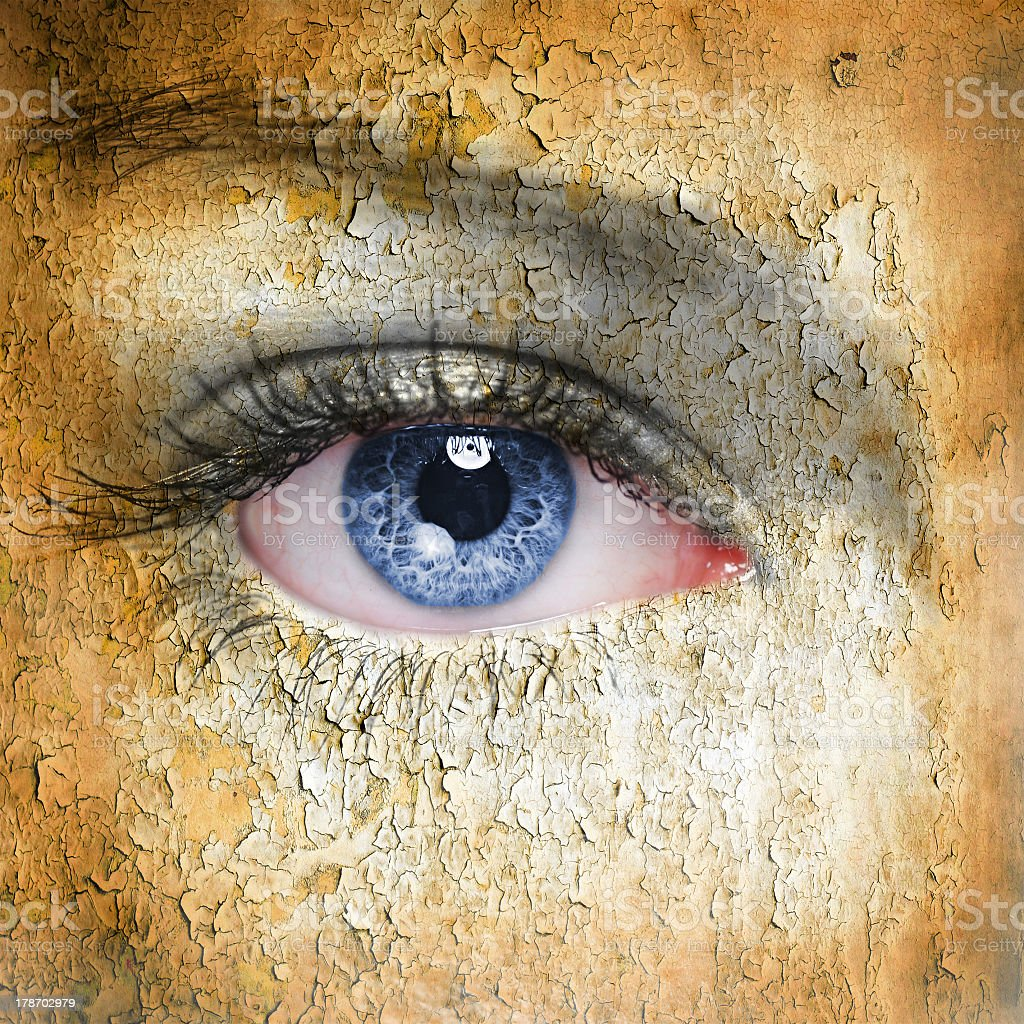 Realistic painting of a blue eye stock photo