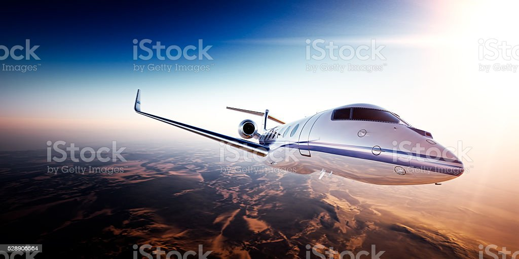 Realistic photo of White generic design private jet flying over stock photo