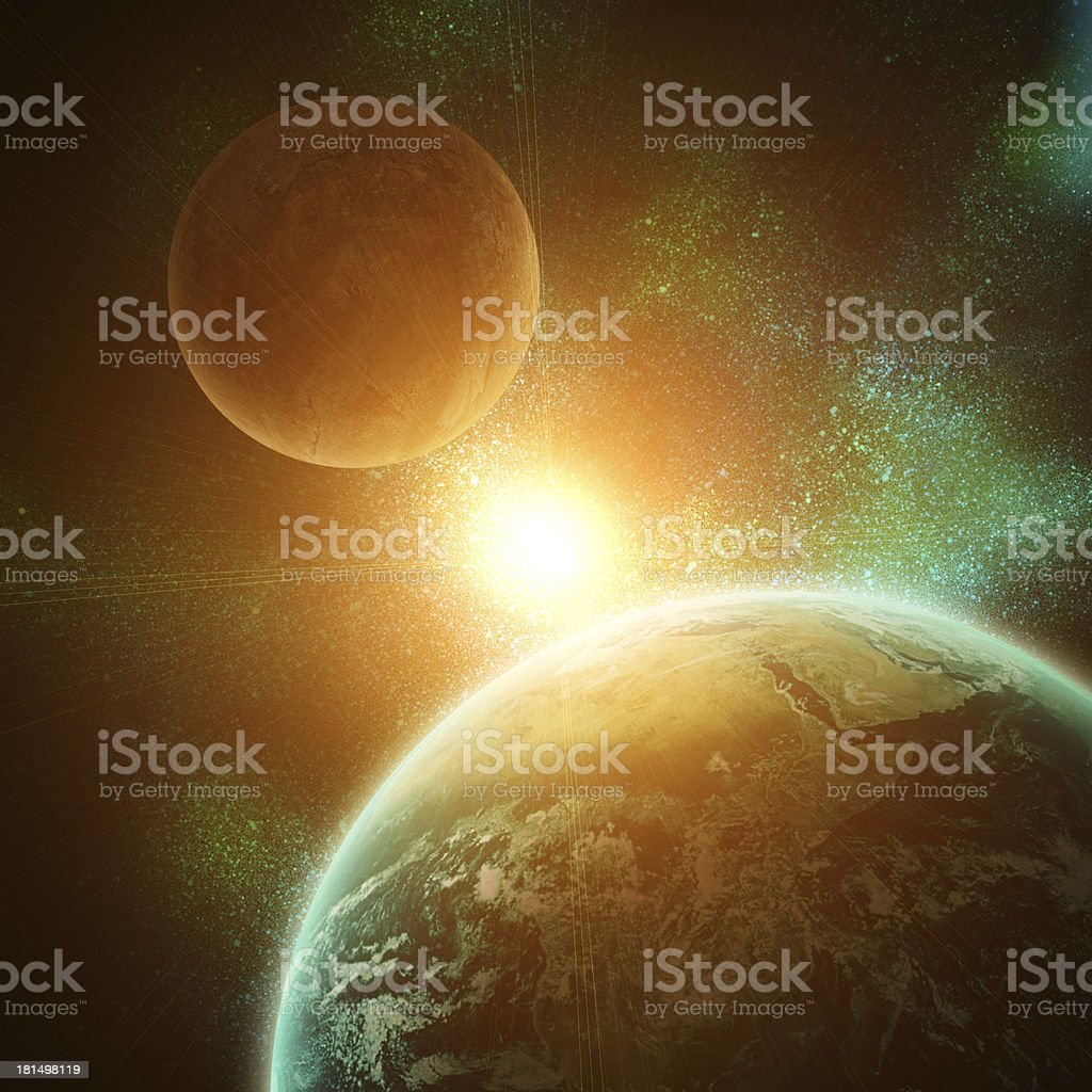 realistic planet earth in open space royalty-free stock photo