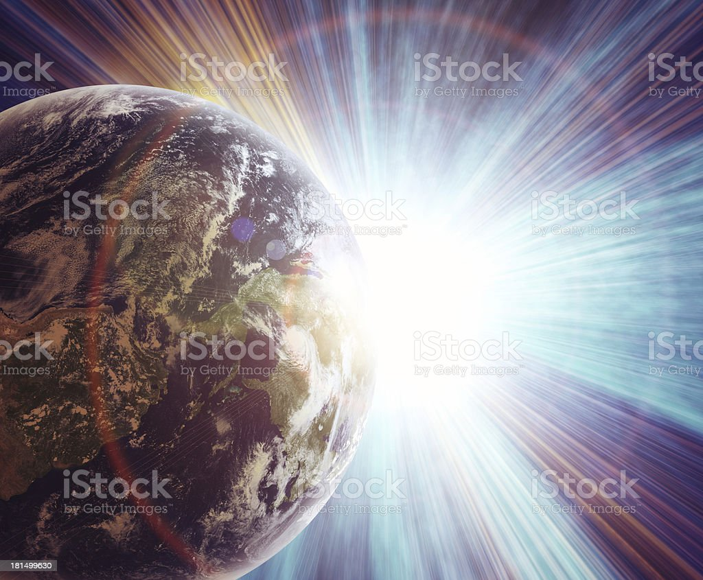 realistic planet earth in space royalty-free stock photo