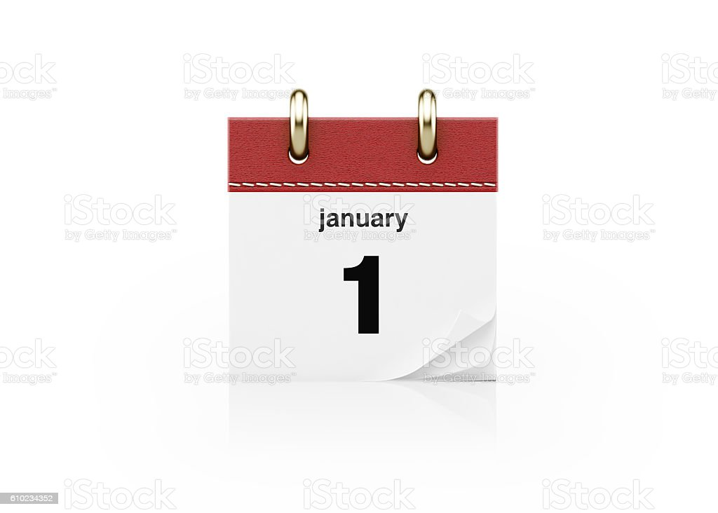 Realistic Red Calendar Standing on White stock photo