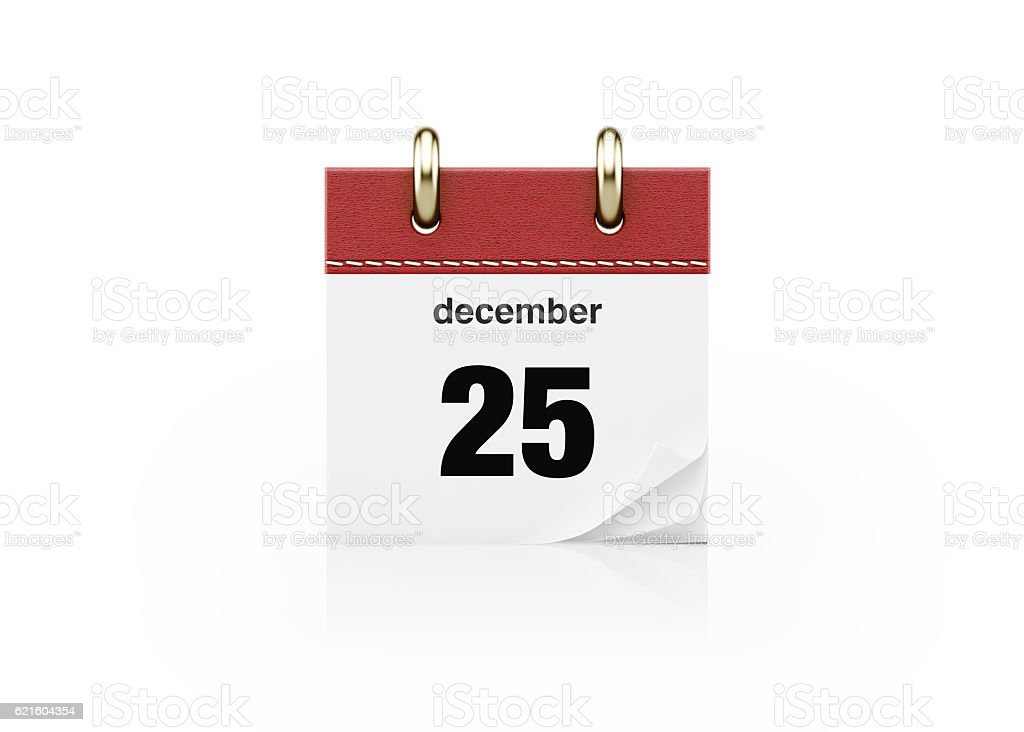Realistic Red Leather Calendar Standing Isolated on White Background stock photo