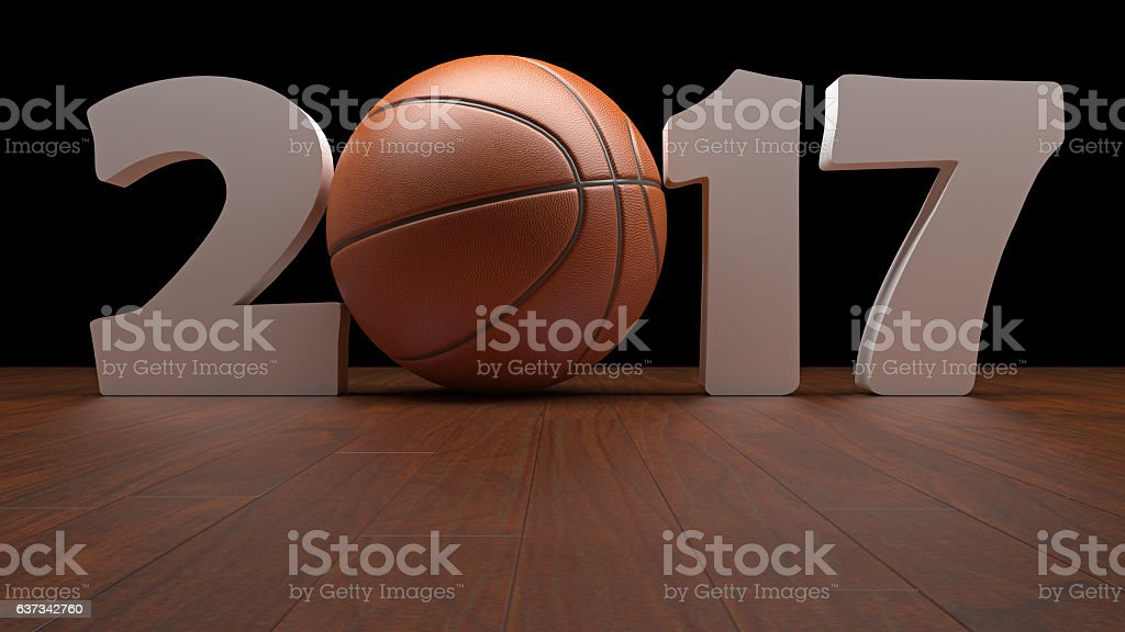 Realistic rendering of basketball And text 2017,basketball seaso stock photo