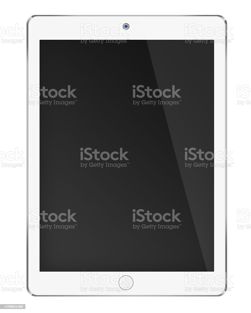 Realistic tablet computer with black screen. stock photo