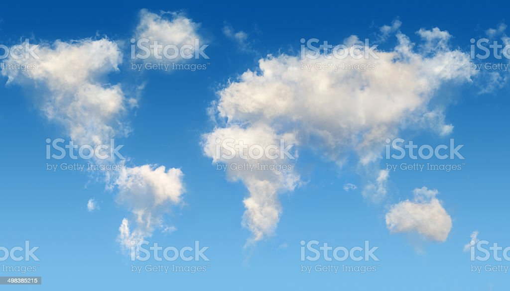 Realistic world map in the sky stock photo
