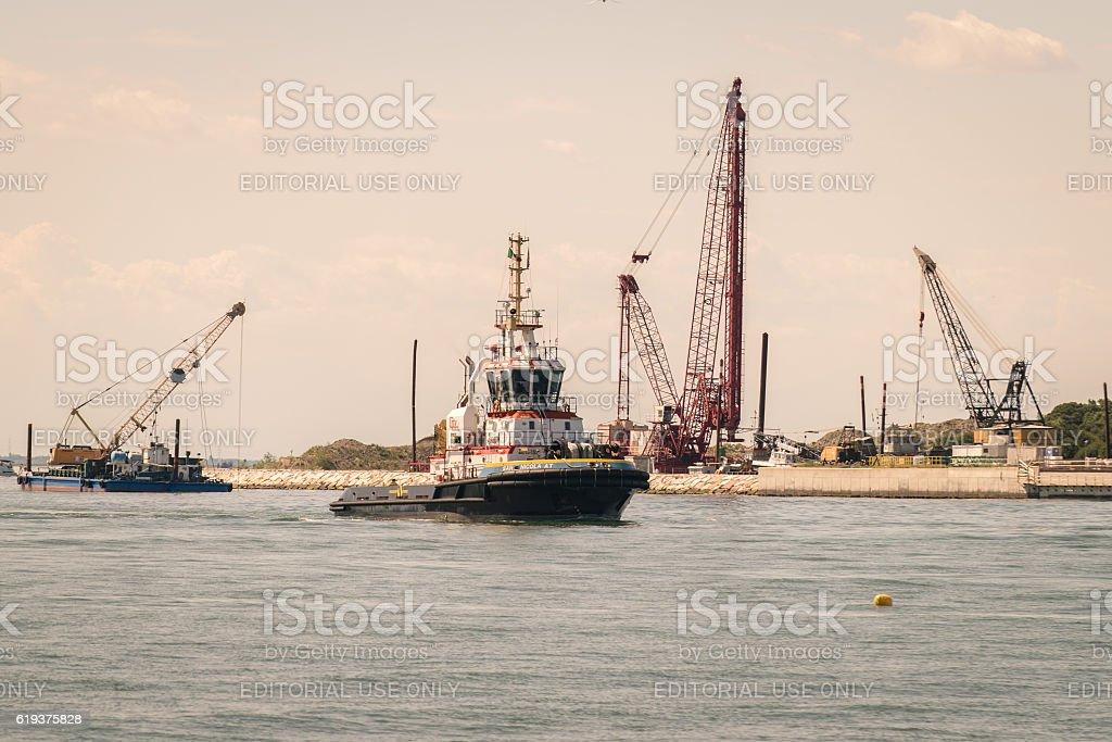 Realization of the movable bulkheads system to save Venice. stock photo