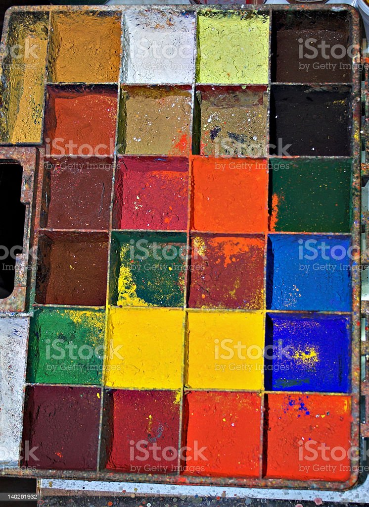 Real-life painter palette stock photo