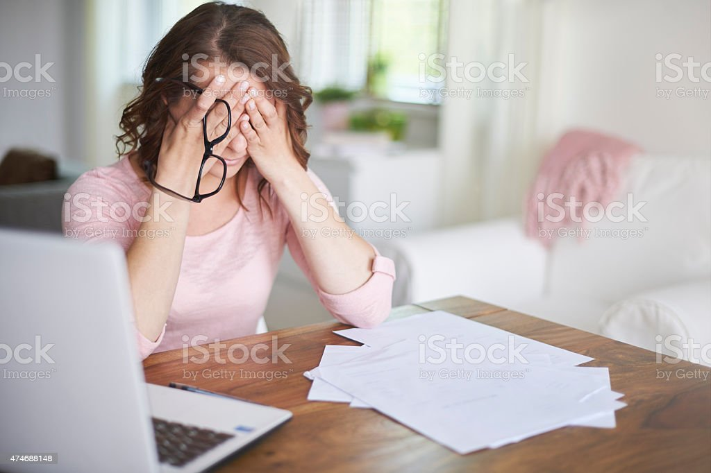 Really bad news about my home finances stock photo