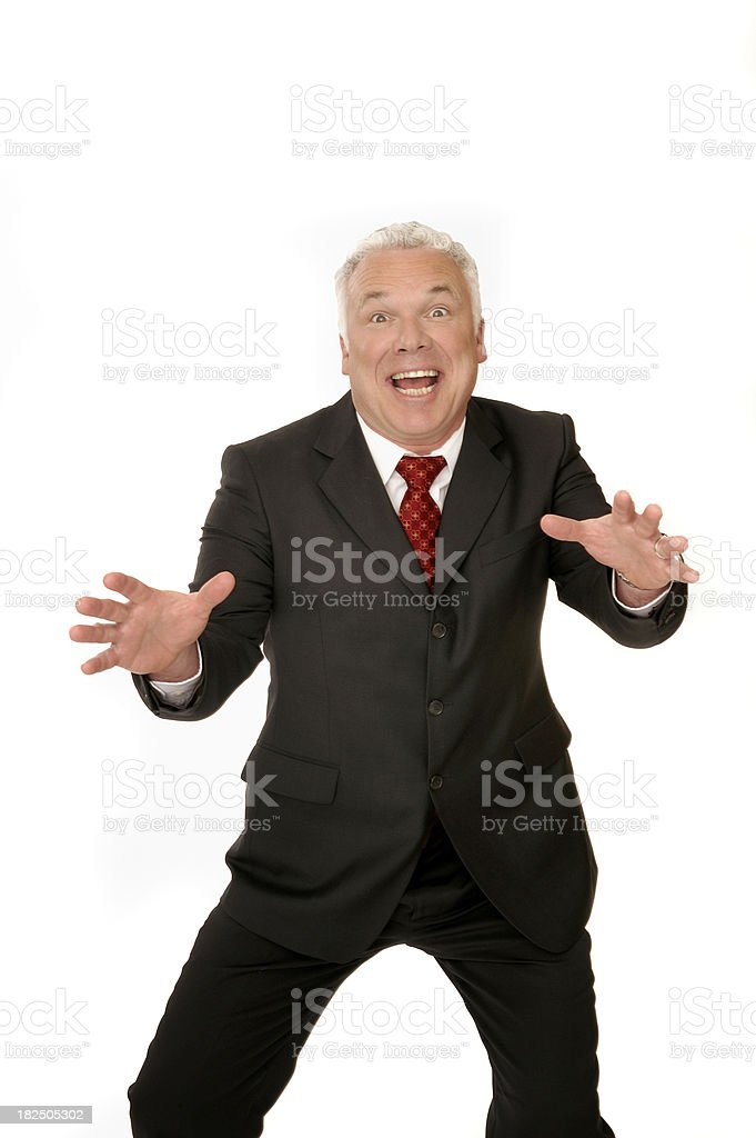 Really excited businessman stock photo
