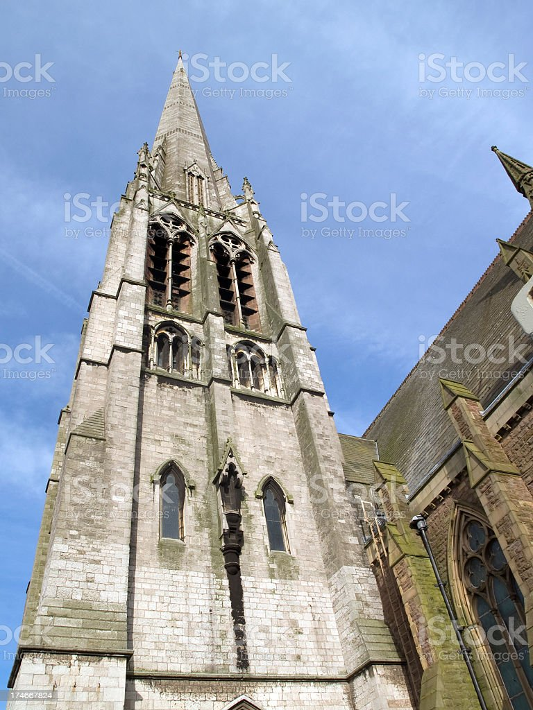 Really tall church steeple St. Walburge in Preston stock photo