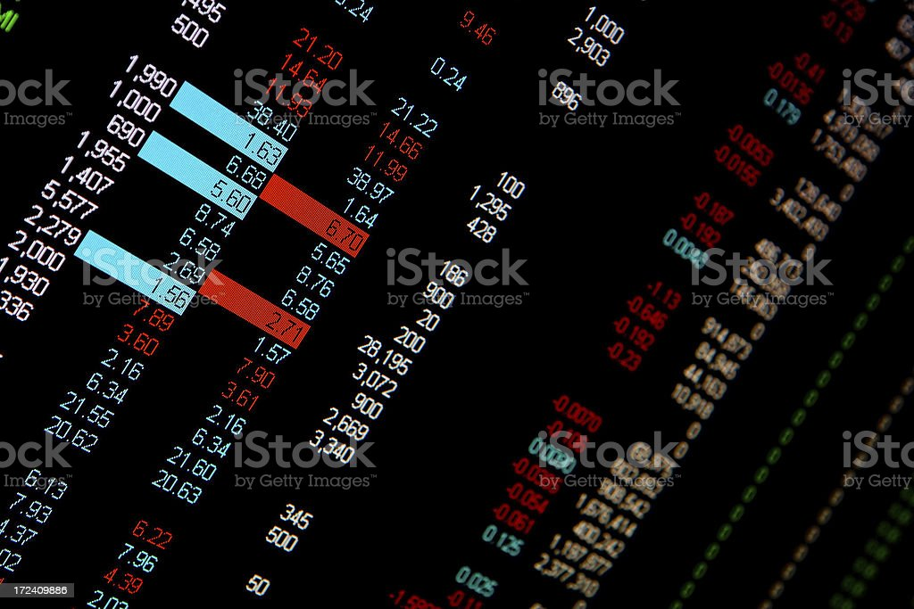 Real-time share prices stock photo