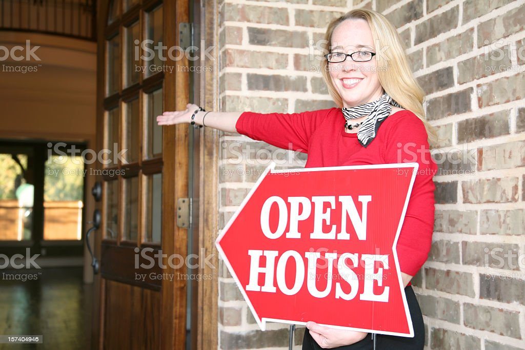 Realtor at an Open House stock photo