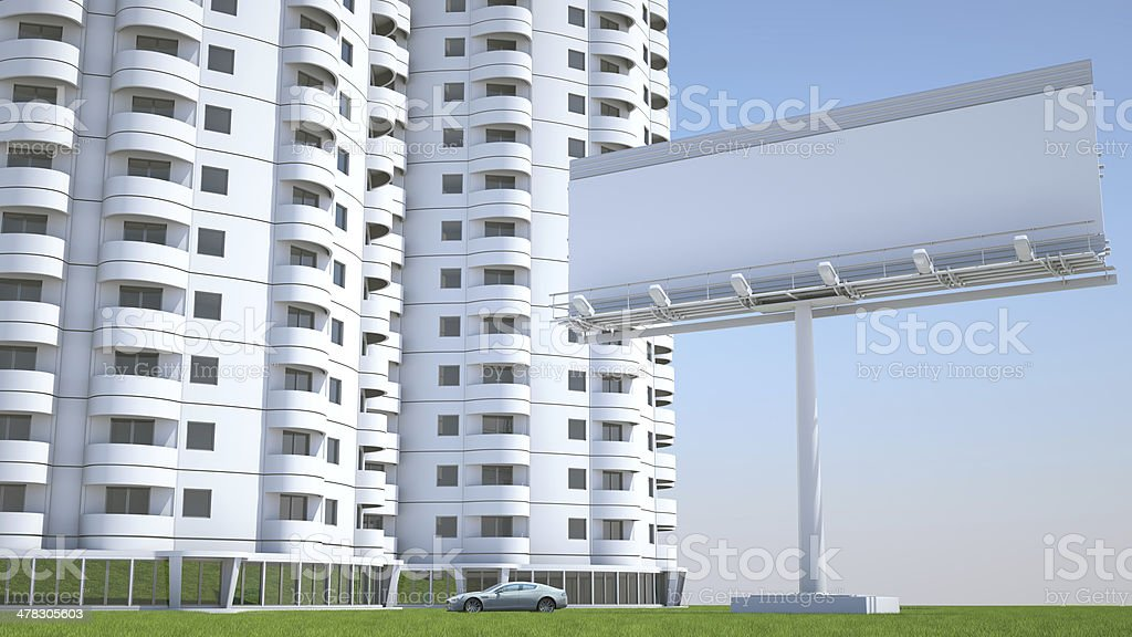 Realty and accommodation: Housing & advertisement hoarding royalty-free stock photo