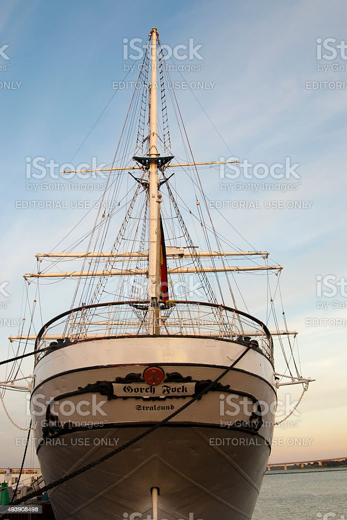 Rear and rigging of sailing ship Gorch Fock in Stralsund stock photo