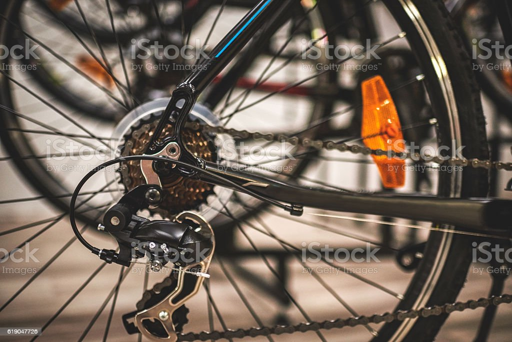 Rear bicycle tire stock photo