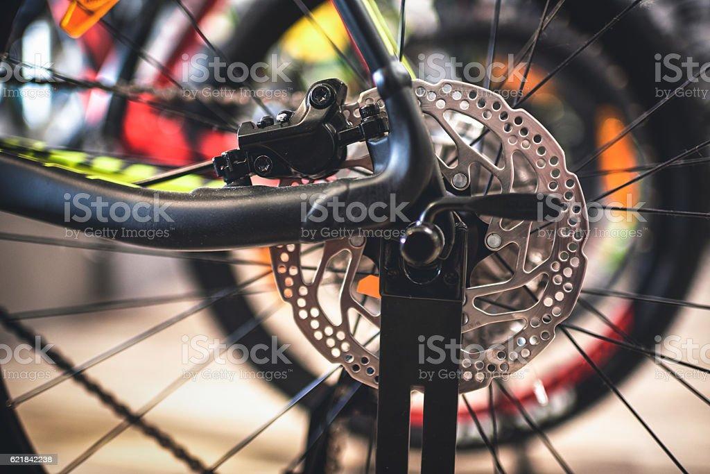 Rear bicycle wheel stock photo